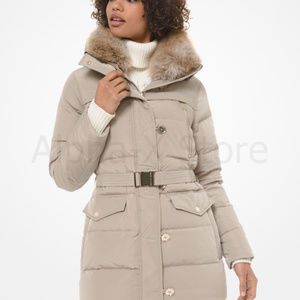 NWT Michael Kors Faux Fur-Trim Quilted Tech Belted